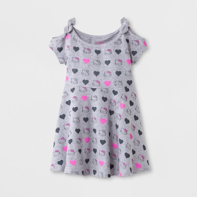 Toddler Girls' Hello Kitty Cold Shoulder A-Line Dress - Gray 2T