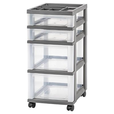 IRIS 4 Drawer Rolling Storage Cart, Gray