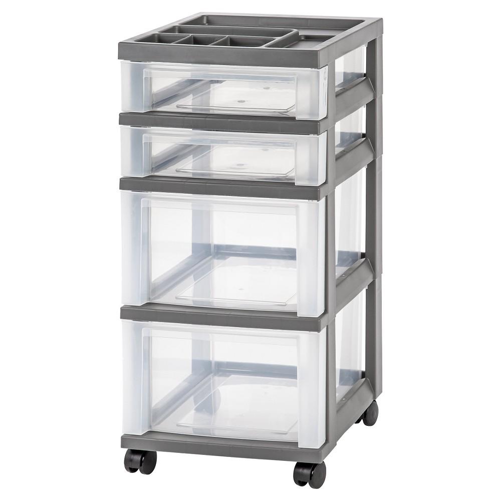 Image of IRIS 4 Drawer Rolling Storage Cart, Gray