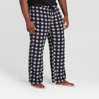 Men's Big & Tall Buffalo Checked Microfleece Pajama Pants - Goodfellow & Co™ Black