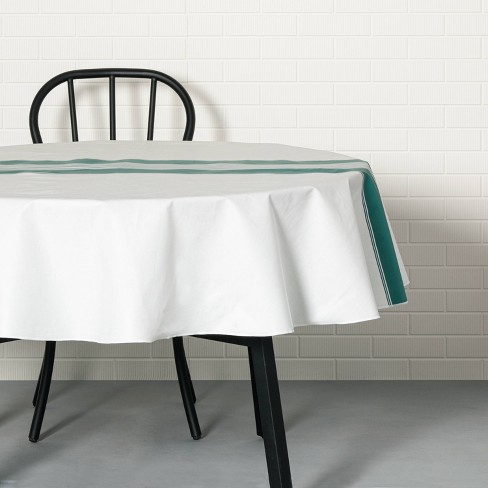Center Stripes Oil Canvas Tablecloth Teal - Hearth & Hand™ with Magnolia - image 1 of 3