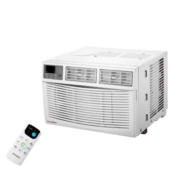 Aeroplus AARC8RE1 350 Sq Ft 8000 BTU Window Air Conditioner and Dehumidifier with 3 Speed Fan, LED Display, and Remote Control, White