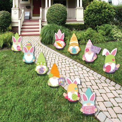 Big Dot of Happiness Easter Gnomes - Lawn Decorations - Outdoor Spring Bunny Party Yard Decorations - 10 Piece