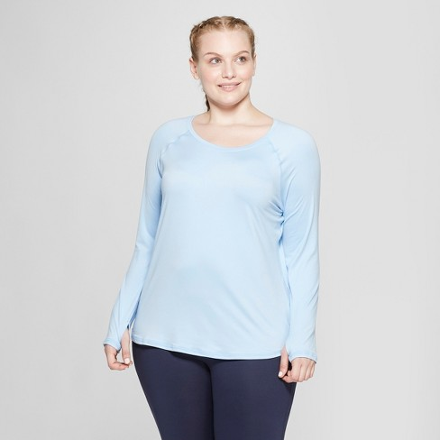 dfa64aa3 Women's Plus Size Long Sleeve Soft T-Shirt- C9 Champion® Ocean Blue ...