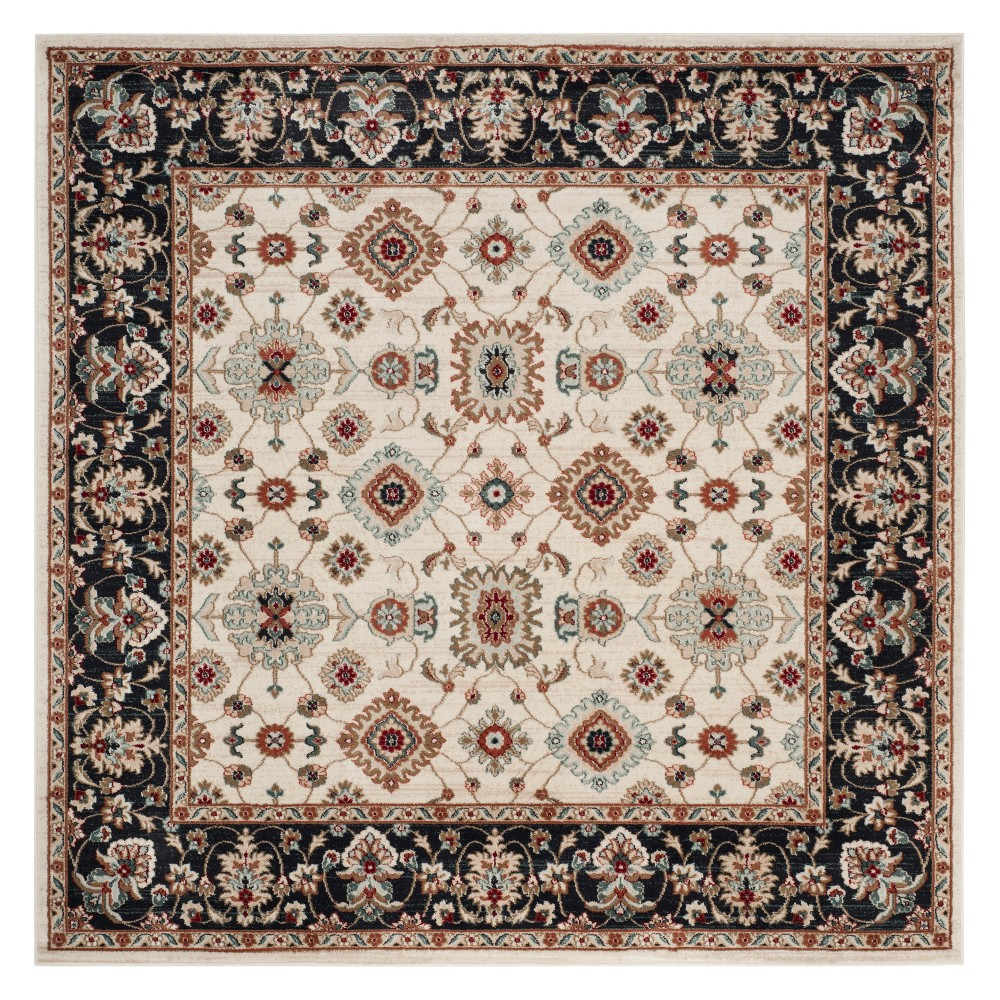 7x7 Floral Loomed Square Area Rug Creamnavy Ivoryblue Safavieh