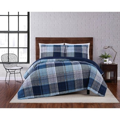 Trey Plaid Quilt Set Navy - Truly Soft