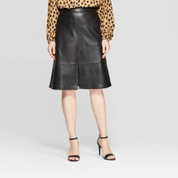 Women's High-Rise A Line Faux Leather Skirt - A New Day™
