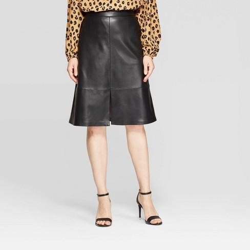 Women's High-Rise A Line Faux Leather Skirt - A New Day™ - image 1 of 3