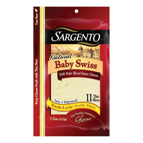 Sargento Natural Baby Swiss Deli-Style Sliced Cheese - 7.5oz - image 1 of 1