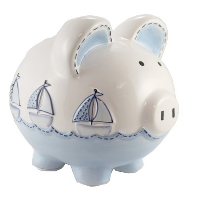 "Bank 7.75"" Triple Sailboat Piggy Bank Ocean Water Waves  -  Decorative Banks"