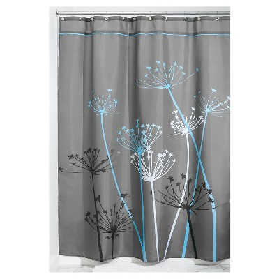 Shower Curtain Interdesign Floral Gray Blue