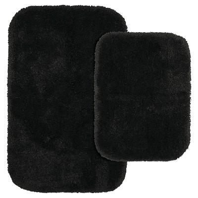 2pc Finest Luxury Ultra Plush Washable Nylon Bath Rug Set Black - Garland