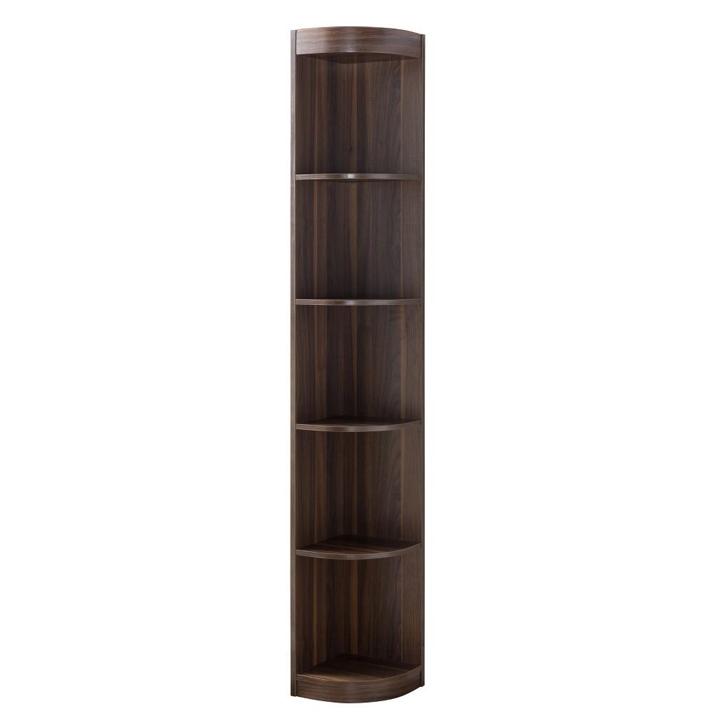 "Image of ""77"""" Pella Contemporary Corner Display Shelf Dark Walnut - ioHOMES, Brown"""