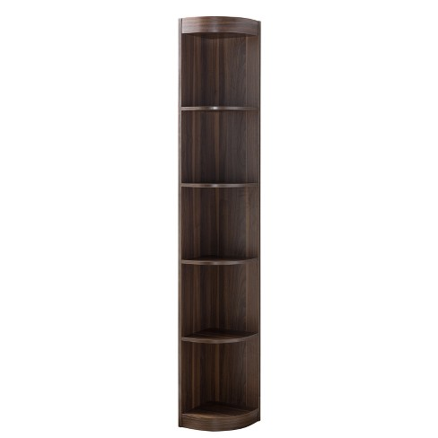 "77"" Pella Contemporary Corner Display Shelf Dark Walnut - ioHOMES - image 1 of 3"