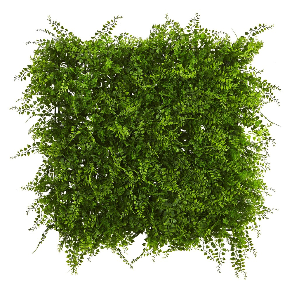 "Image of ""20"""" X 20"""" Lush Mediterranean Artificial Fern Wall Panel - Nearly Natural, Green"""