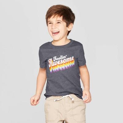 Toddler Boys' Short Sleeve  Feelin' Awesome  T-Shirt - Cat & Jack™ Dark Gray 4T