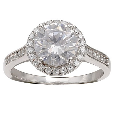Women's Round Cubic Zirconia Ring in Sterling Silver - Silver/Clear