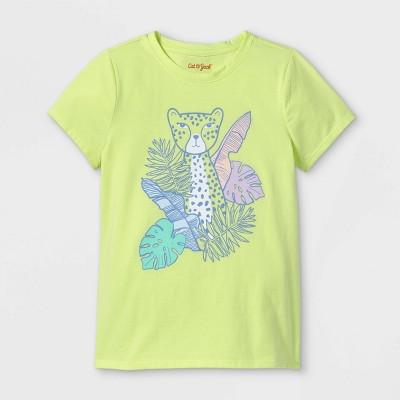 Girls' Cheetah Graphic Short Sleeve T-Shirt - Cat & Jack™ Lemon Yellow