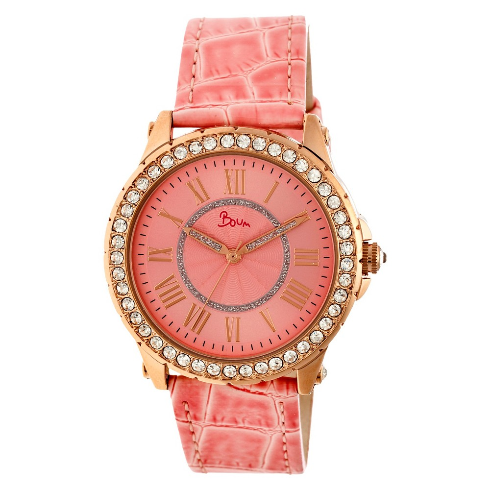 Women's Boum Belle Watch with Crystal Surrounded Bezel- Pink