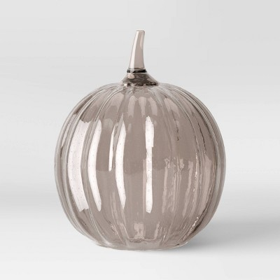 "14"" x 11"" Decorative Seeded Glass Pumpkin Figurine Black - Threshold™"