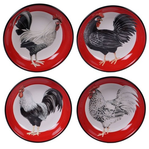 36oz Earthenware Homestead Rooster Dinner Bowls Red - Certified International - image 1 of 1