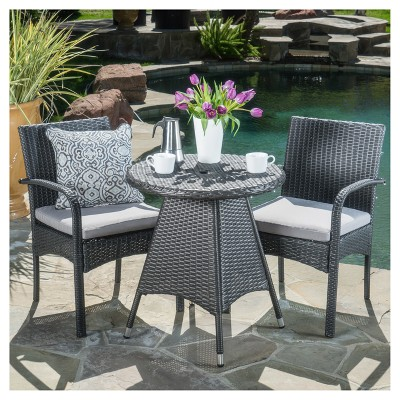 Peterson 3pc Wicker Patio Bistro Set with Cushions - Christopher Knight Home