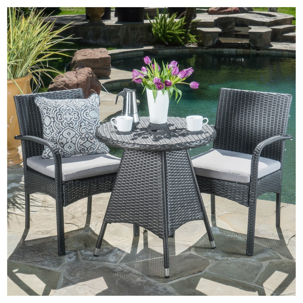 Peterson 3pc Wicker Patio Bistro Set - Gray - Christopher Knight Home