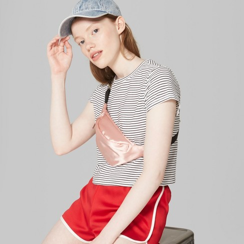 6382d49ea4 Women's Striped Short Sleeve Boxy Cropped T-Shirt - Wild Fable™ White/Black  : Target