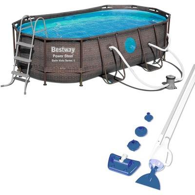 Bestway 14ft x 8ft x 39.6in Power Swim Vista Pool with Pump and AquaCrawl Vacuum