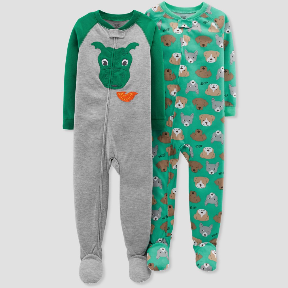Baby Boys' Dog Footed Sleeper Pajama Set - Just One You made by carter's Forest Green 12M