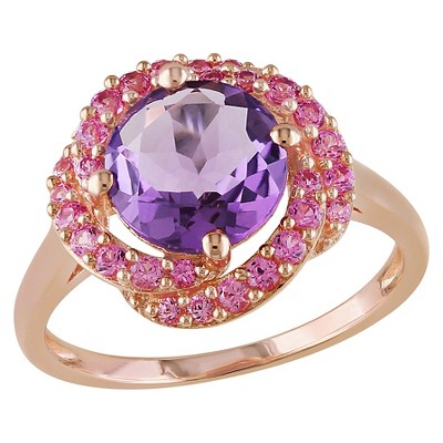 1.5 CT. T.W. Round Amethyst and .14 CT. T.W. Simulated Pink Sapphire Ring in Pink Sterling Silver