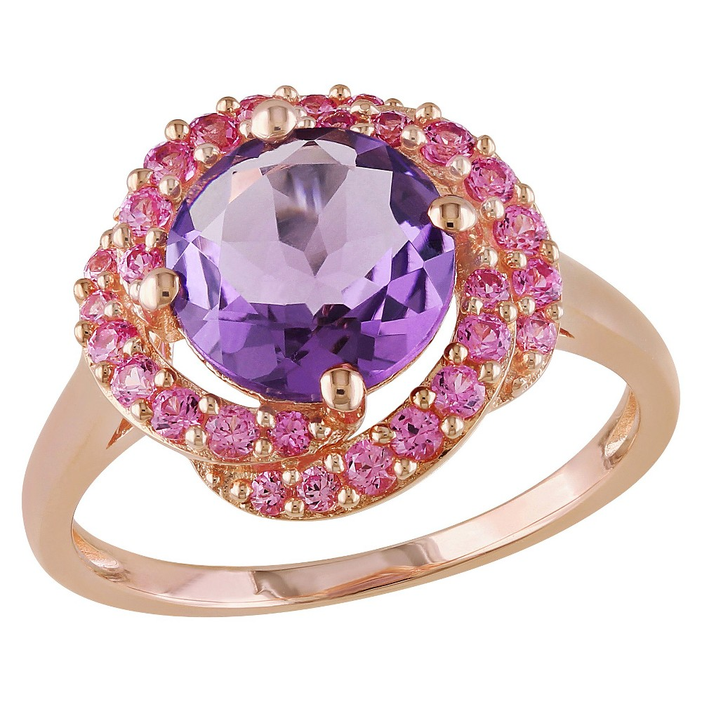 1.5 CT. T.W. Round Amethyst and .14 CT. T.W. Simulated Pink Sapphire Ring in Pink Sterling Silver - Amethyst, Size: 6, Purple