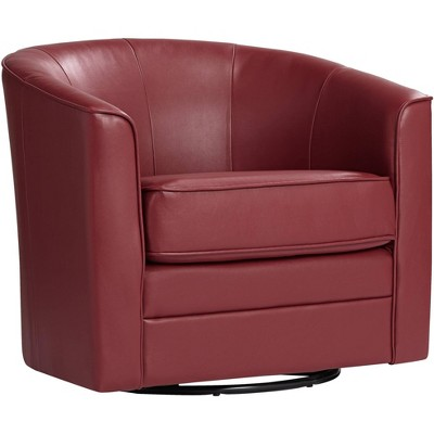 Studio 55D Keller Scarlet Red Bonded Leather Swivel Club Chair