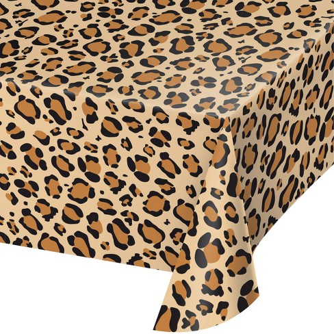 Creative Converting Leopard Print Plastic Tablecloth Image 1 Of
