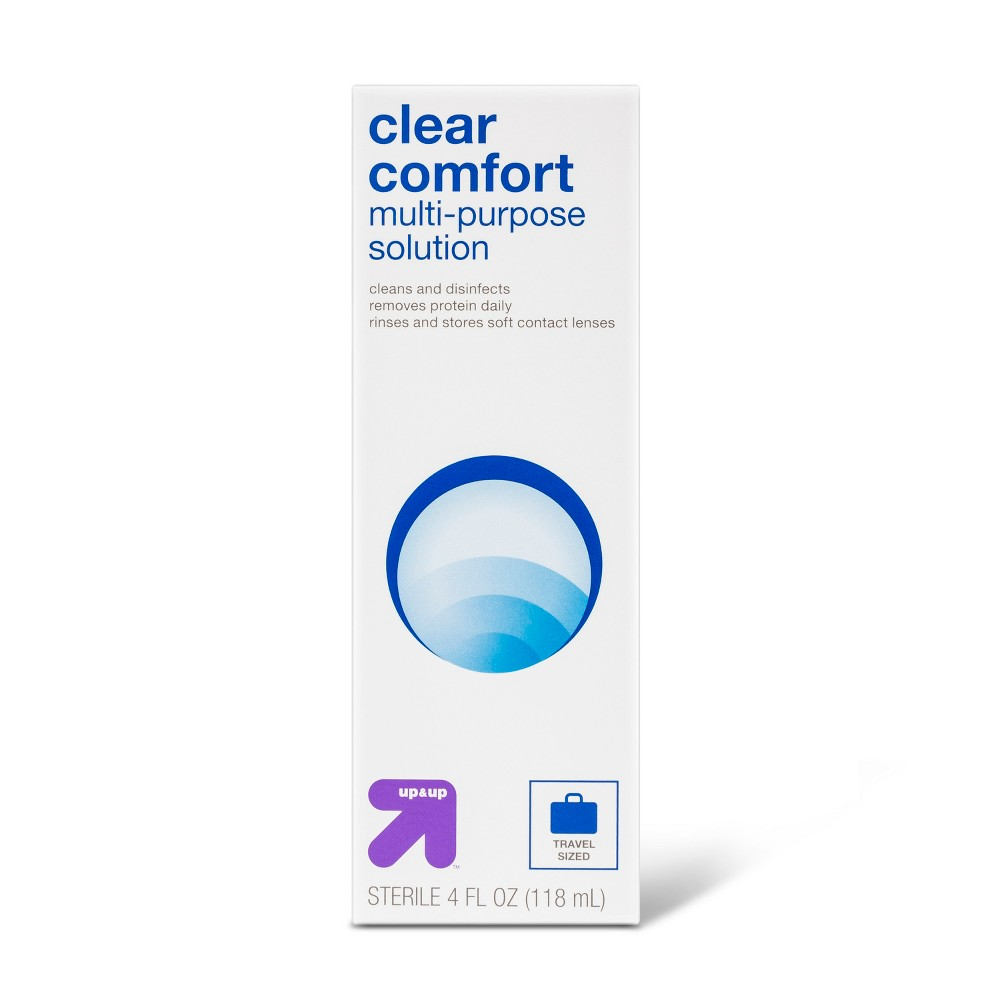 Multipurpose Contact Solution - 4oz - Up&Up From the workweek to an out-of-town weekend, help keep your contacts working their best with Multipurpose Contact Solution from up and up. This contact lens solution is designed to clean, disinfect and remove protein buildup from your contacts — making it a perfect option for rinsing and storing your soft contact lenses. As a bonus, the four-ounce bottle is conveniently sized for using at home or on the go; simply stash it anywhere from your purse to your bathroom cabinet for versatile convenience. 100 percent Satisfaction Guaranteed. Age Group: Adult.