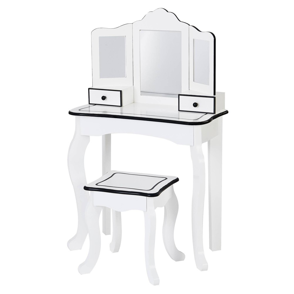 Image of Little Lady Adriana Play Vanity Set White/Black - Teamson Kids
