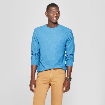 ef1a21d868e8f Men s Standard Fit Long Sleeve Textured Crew Neck Shirt - Goodfellow   Co™  Riviera Blue