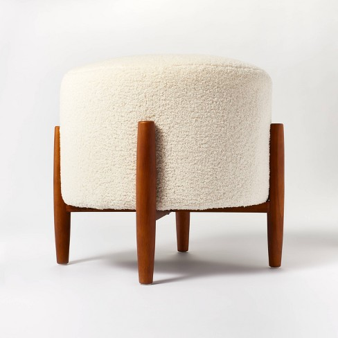 Elroy Sherpa Round Ottoman with Wood Legs Cream - Threshold™ designed with Studio McGee - image 1 of 4
