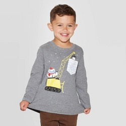 Toddler Boys' Long Sleeve Yeti Construction Pocket Play Graphic T- Shirt - Cat & Jack™ Gray