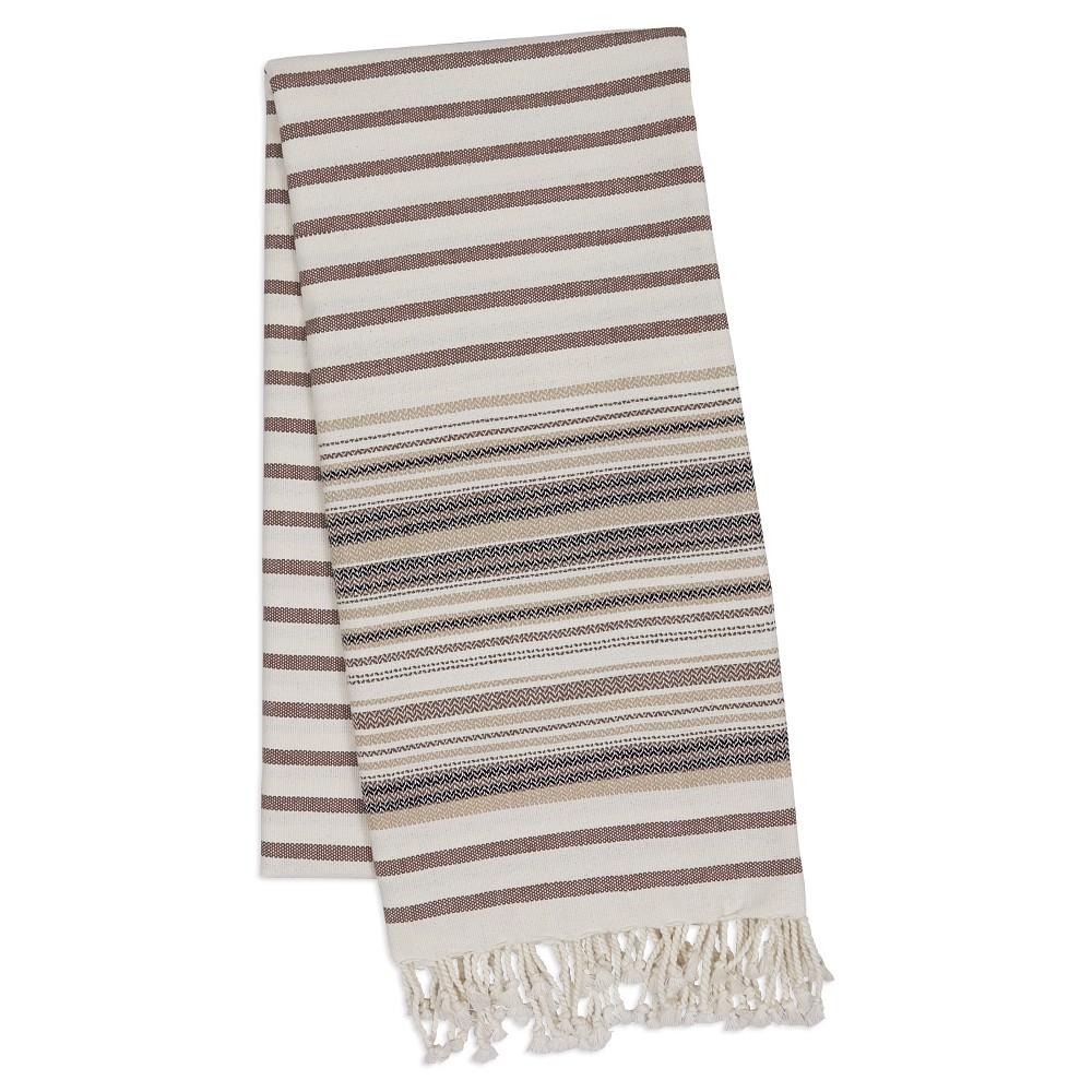 Stripe Fouta Towel Brown - Design Imports