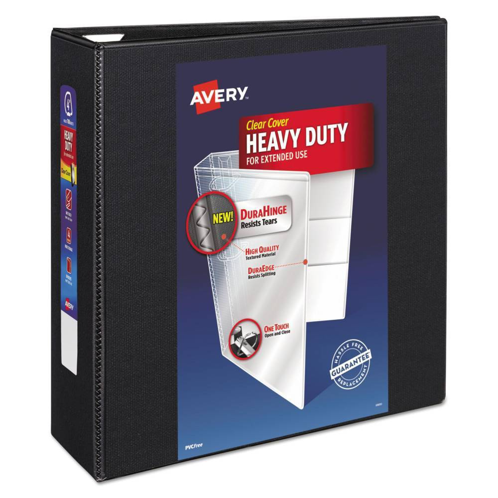 """Image of """"4"""""""" Heavy Duty View Ring Binder with One Touch EZD Rings Black - Avery"""""""