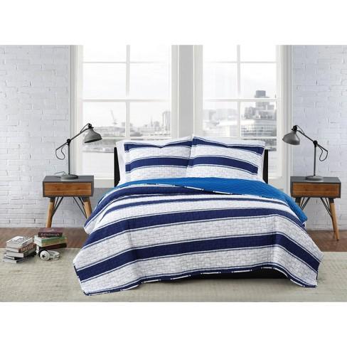 King 3pc Watins Stripe Quilt Set White/Blue - London Fog - image 1 of 4