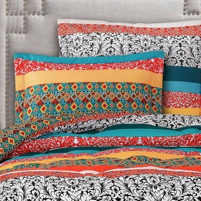 Boho Stripe Comforter Set Turquoise/Tangerine  - Lush Décor