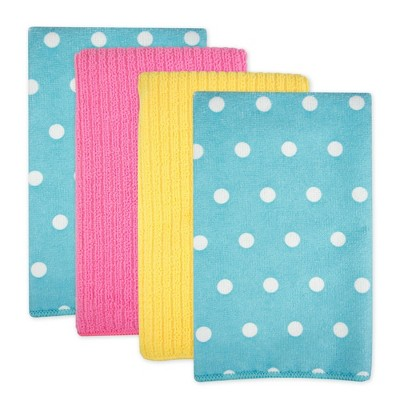 4pk Polyester Microfiber Dotted Dishtowels Blue - Design Imports