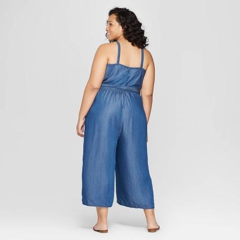 753fffd60b6a Women s Plus Size Sleeveless Denim Jumpsuit - Universal Thread™ Medium Blue  1X   Target