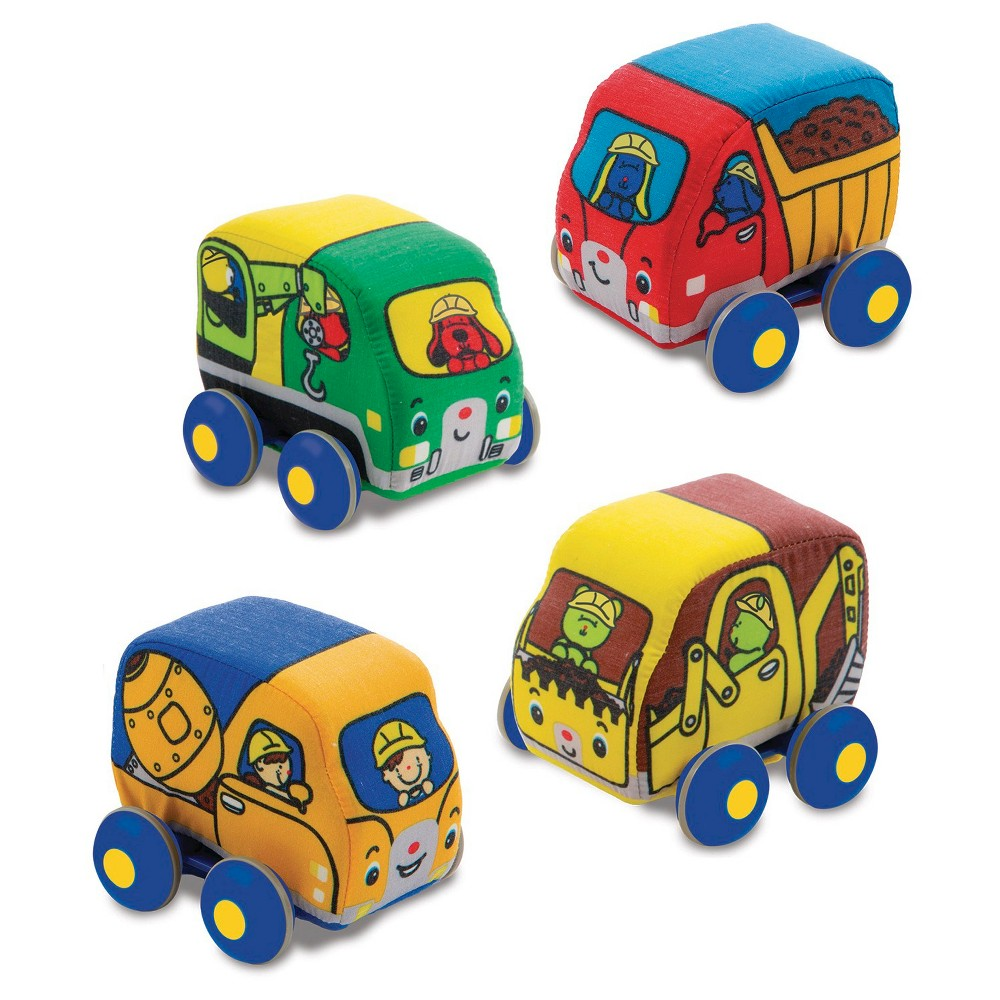 Melissa and Doug Pull-Back Construction Vehicles - Soft Baby Toy Play Set of 4 Vehicles