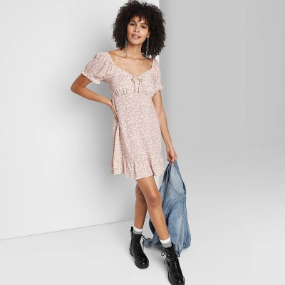 Women's Short Sleeve Sweetheart Ruffle with Tie-Back Dress - Wild Fable™