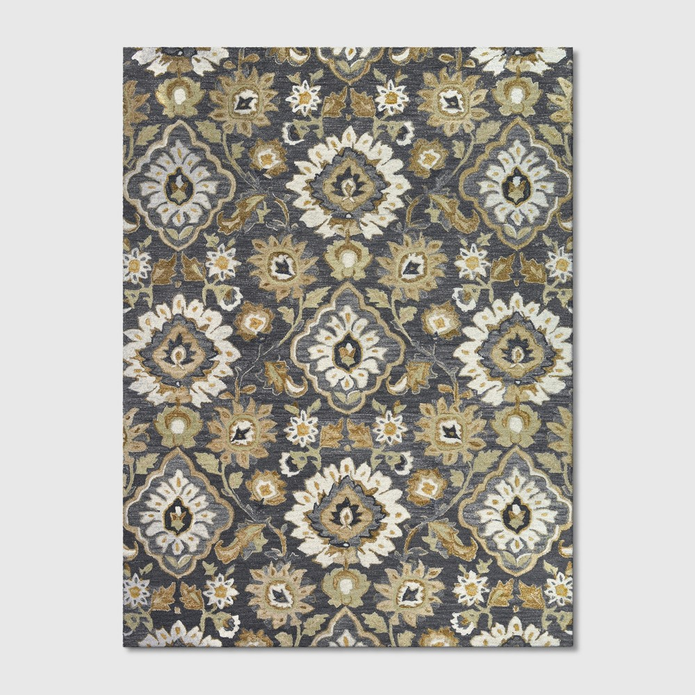 9'x12' Floral Tufted Area Rug Gray - Threshold