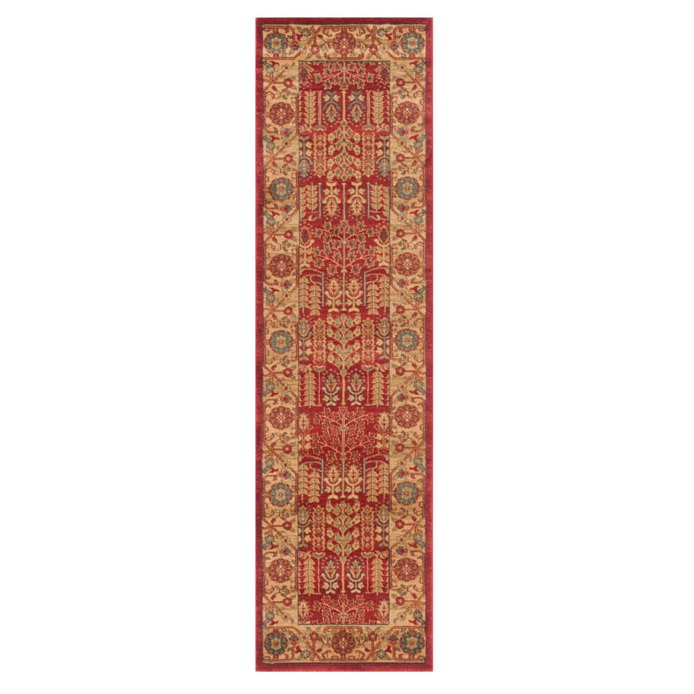 Red/Natural Floral Loomed Runner 2'2X14' - Safavieh