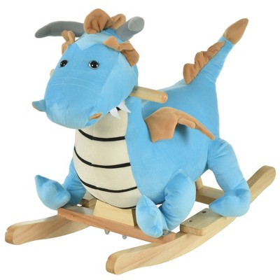 Qaba Kids Plush Ride-On Rocking Horse Toy Dinosaur Ride Rocking Chair with Realistic Sounds for Child 36 Months Blue